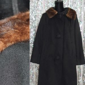 Jackets & Blazers - 1950's Black Wool Coat with Mink Collar Trimming